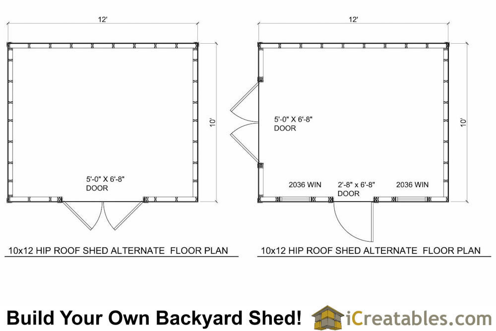 10x12 hip roof shed plans for 12x16 shed floor plans