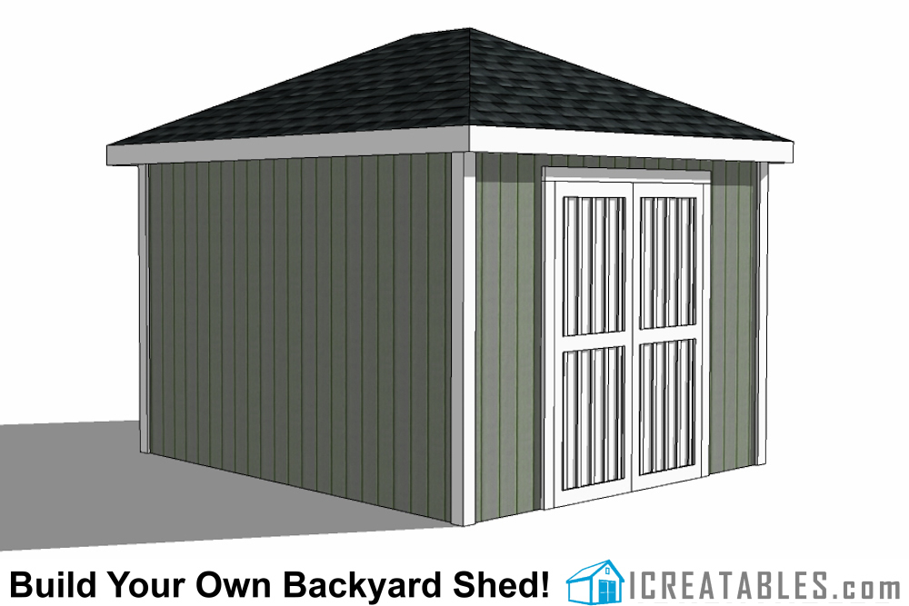 10x12 hip roof shed plans for Double door shed plans