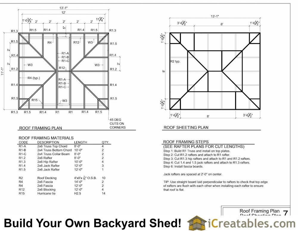 10x12 hip roof shed plans for Hip roof design plans