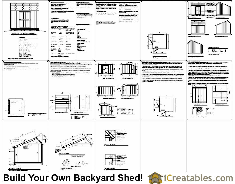 10x12 salt box shed plans example