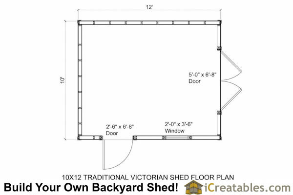 10x12 Traditional Victorian Style Storage Shed Floor Plan