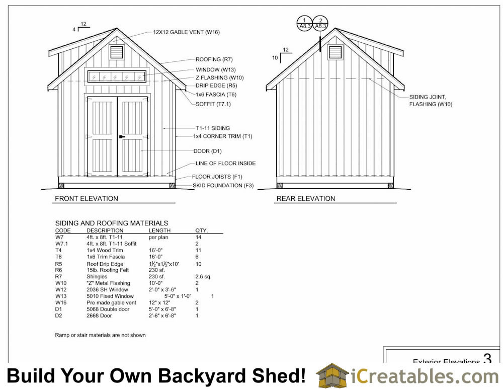 10x12  shed with dormer exterior elevations plans
