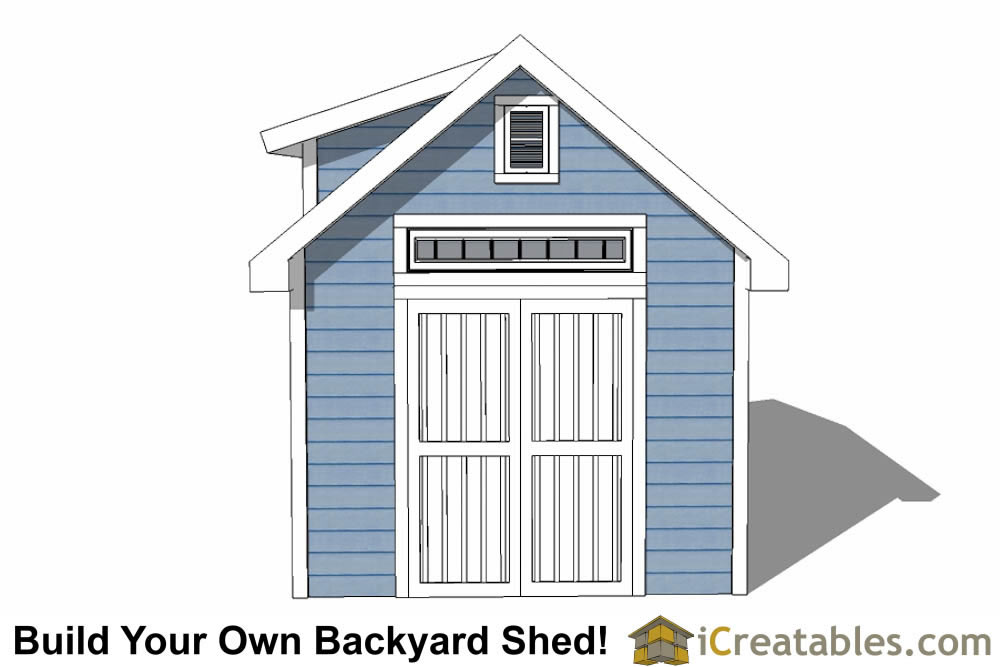 10x12  shed with dormer roof plans elevation