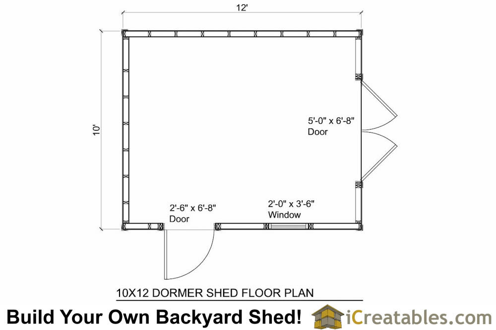 10x12  shed with dormer roof floor plans