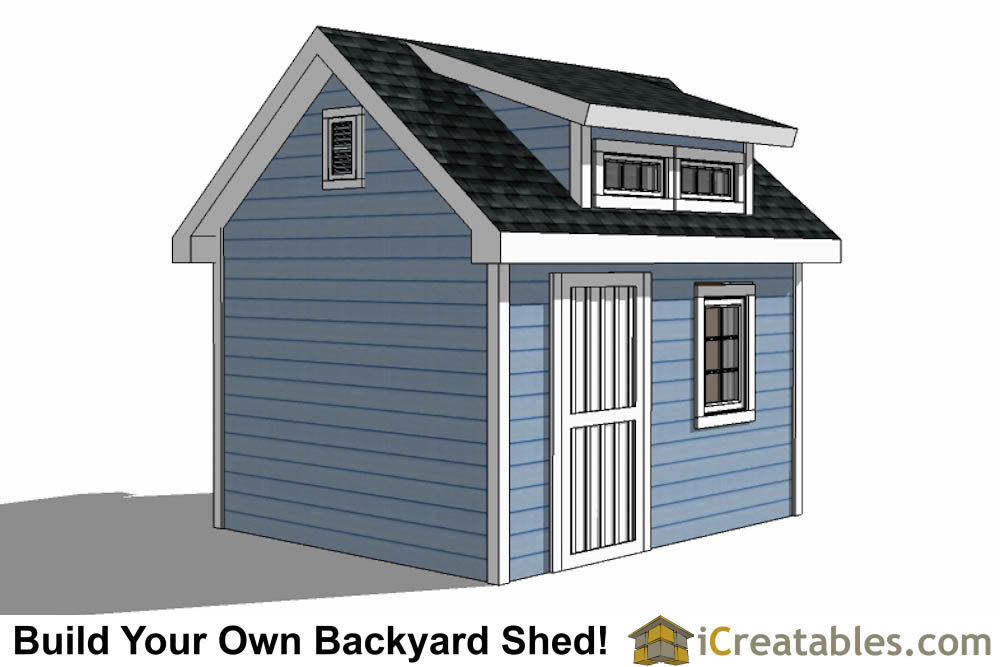 10x12  shed with dormer roof plans right