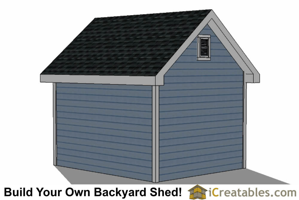 10x12  shed with dormer roof plans right rear