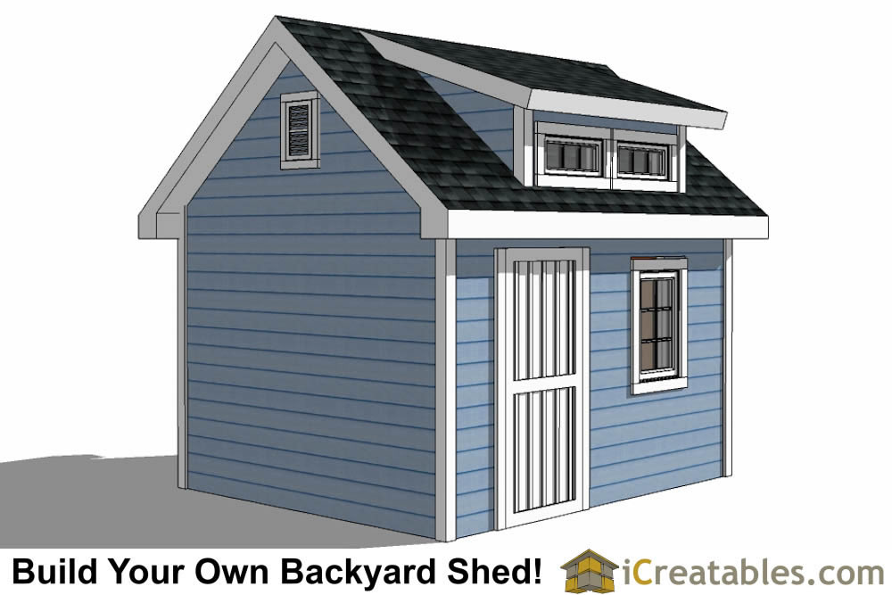 10x12  shed with dormer roof plans rear elevation