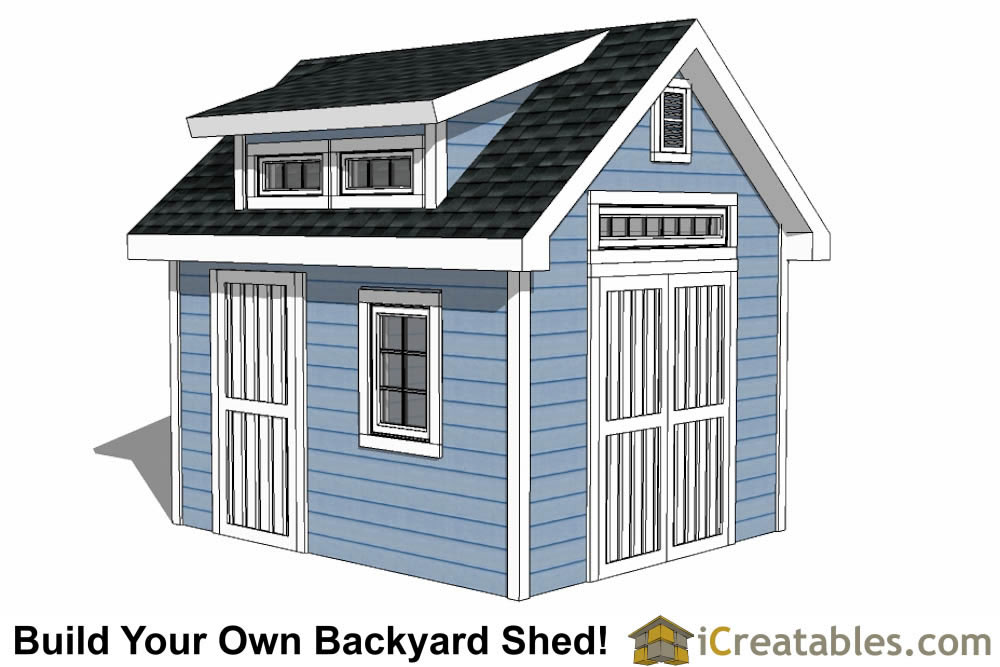 10x12 shed plans with dormer for Shed roof house designs