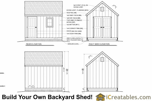 10x12 cape cod shed elevations