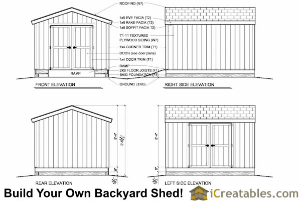 10x12 shed plan elevations