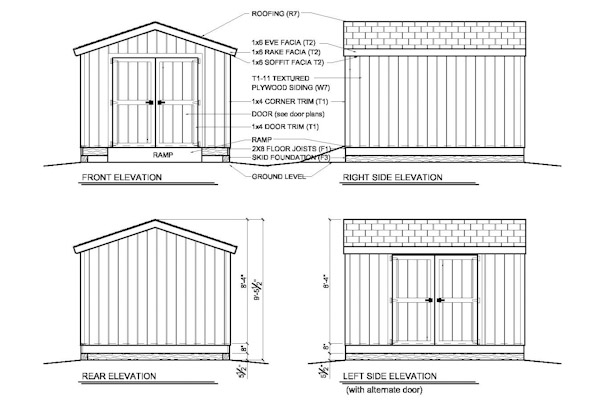Building plans for a 10'x 12' gable end storage shed for your yard or