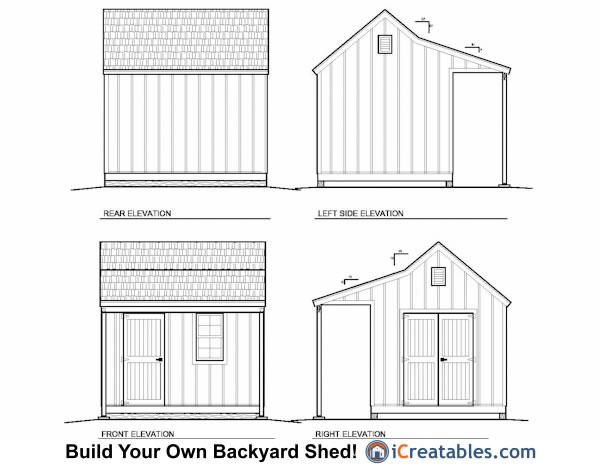 10x12 CCP Cape Cod Porch Shed Plans