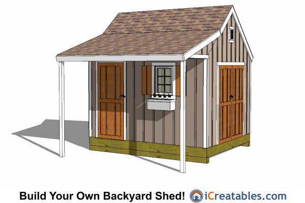 10x12 Gambrel Storage Shed Plans With Porch