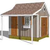 10x16 cape cod shed plans with a porch