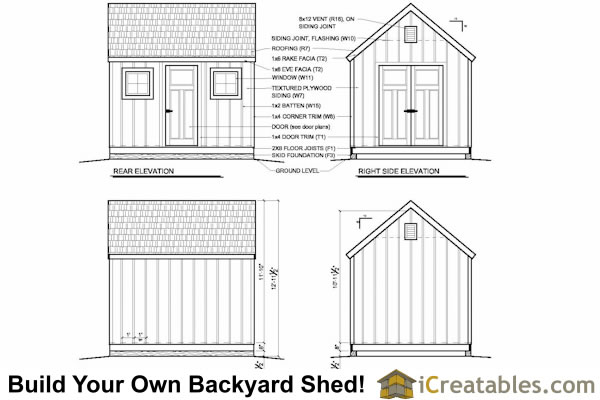 10x12 colonial shed plans elevations