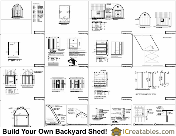 10x12 gambrel small barn shed plans example