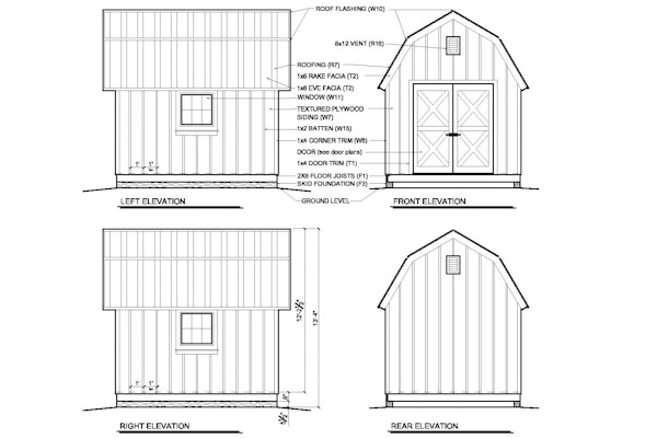 10x12 GB Gambrel Shed Barn Plans