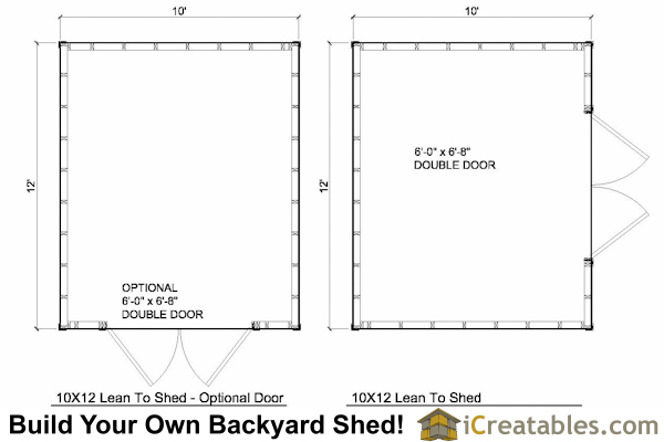 10x12 Lean to shed plans floor plan