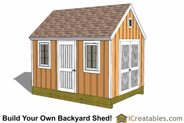 10x14 shed plan front view