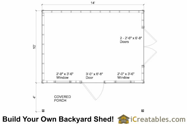10x14 colonial shed with porch plans icreatables sheds for 10x14 shed floor plans
