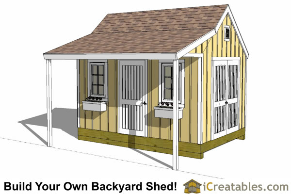 10x14 colonial style shed plans with porch