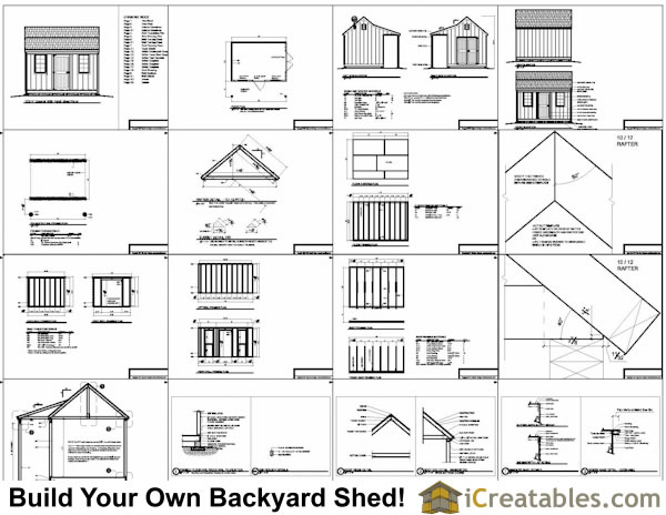 Building plans for a 10'x 14' Colonial storage shed with a porch