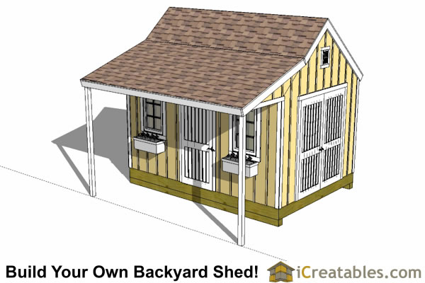 10x14 colonial shed with porch plans icreatables sheds for Colonial shed plans