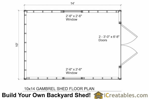 10x14 small barn shed plans gambrel shed plans for Gambrel barn house floor plans