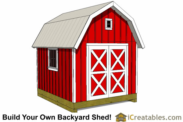 10x14 gambrel shed plan front