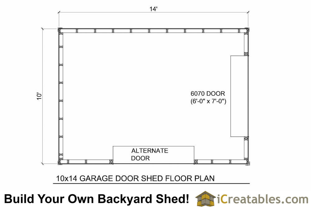 10x14 shed with garage door floor plan