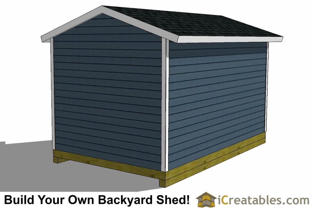 10x14 shed plans with garage door rear view