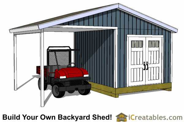 10x14 shed with atv storage porch