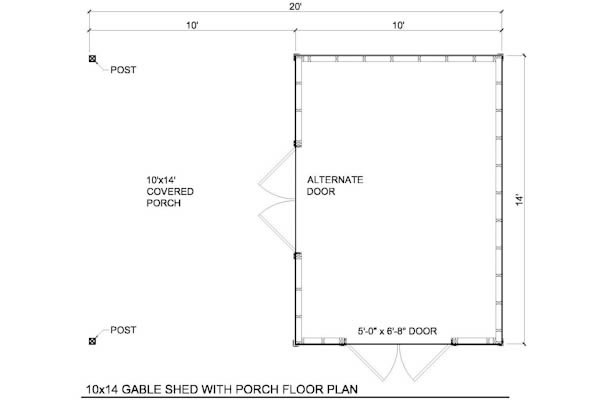 10x14 gable shed plans include the following options plans include