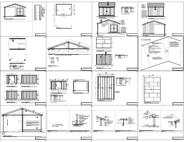 10x14 backyard shed plans large porch carport for Porch plans shed roof