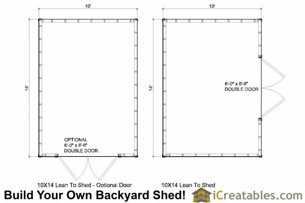 10x14 Lean to shed plans floor plan