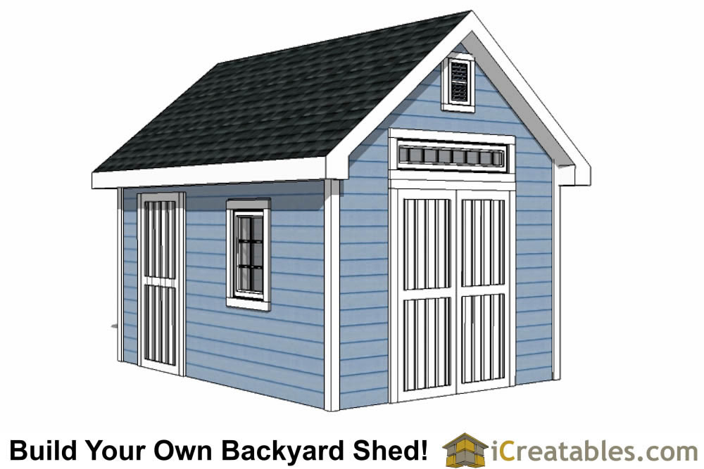 10x14 Colonial style shed plans