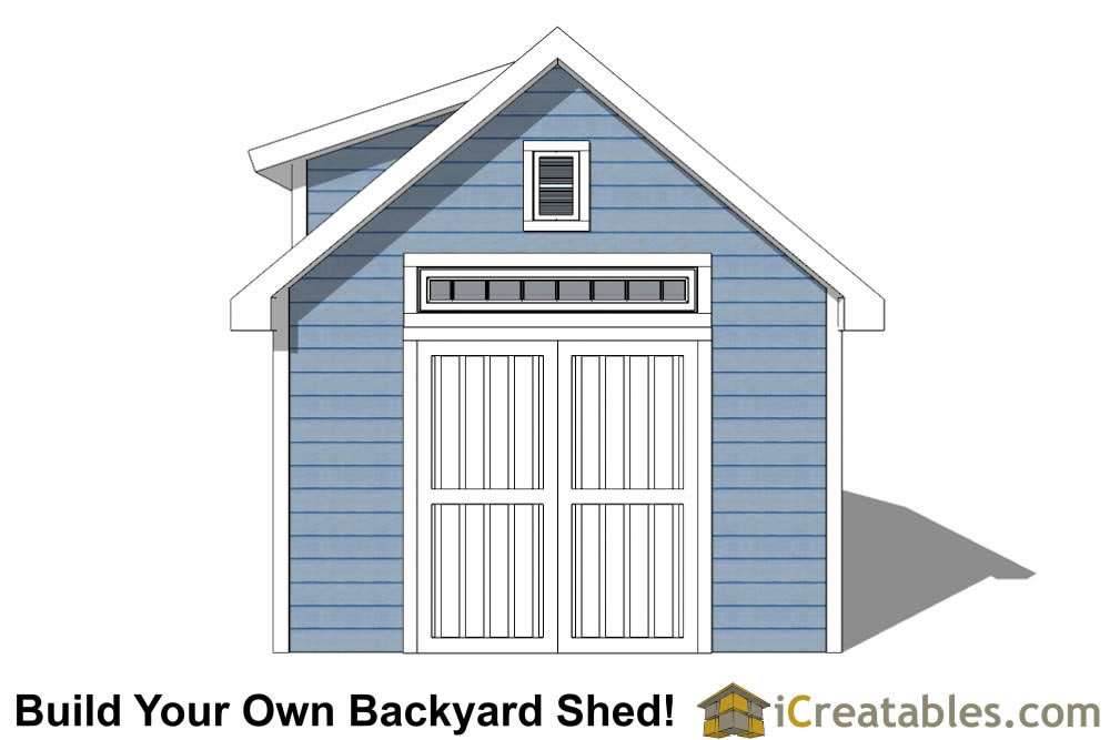 12x16 shed with dormer roof plans elevation