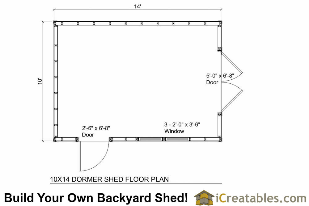 10x14 shed plans with dormer for 10x14 shed floor plans