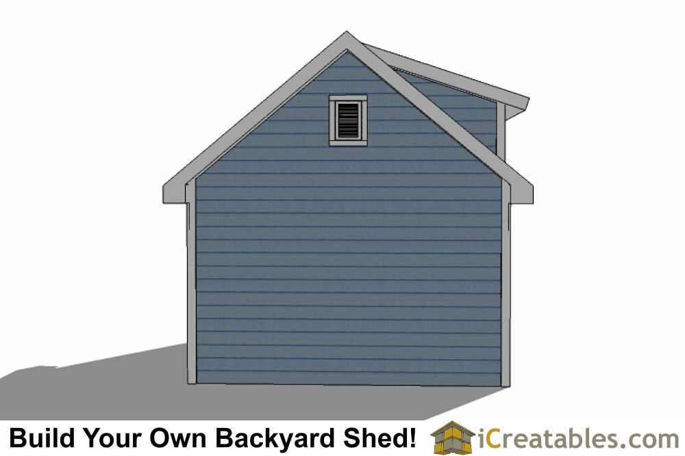 12x16 shed with dormer roof plans rear elevation