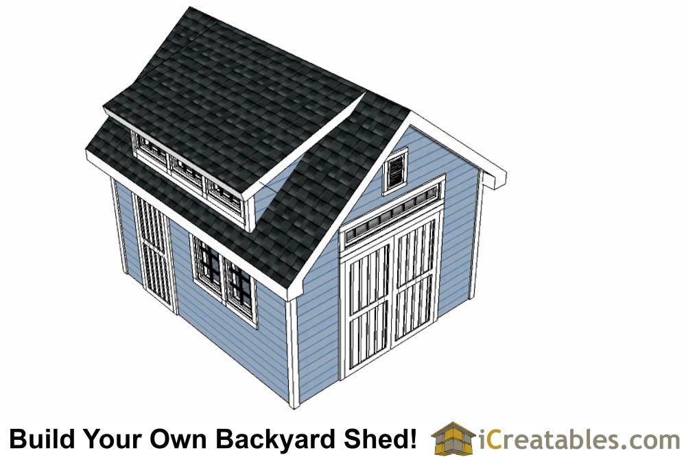 12x16 shed with dormer roof top view