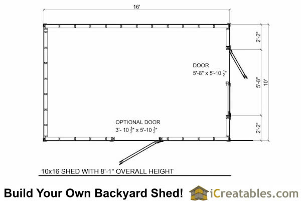 10x16 short shed plans 8 39 tall storage shed plans for 10 x 8 shed floor plans
