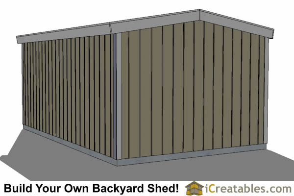 10x12 short shed 8' tall shed plans rear view