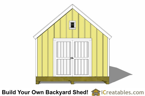 10x16 garden storage shed plan end elevation