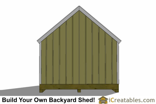10x16 garden storage shed plan end view