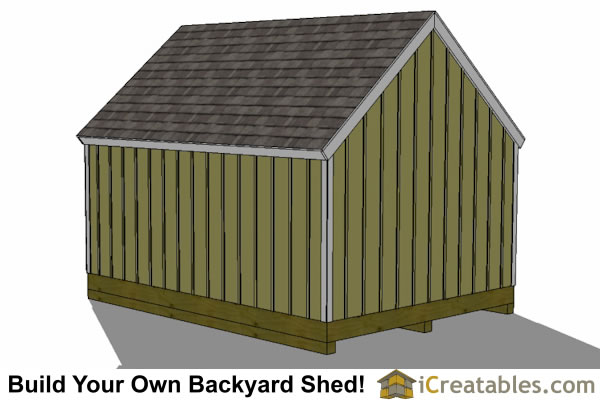 10x16 garden storage shed plan rear view