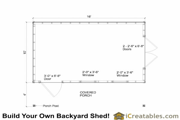 Loren shed plan with porch for 16x20 deck plans