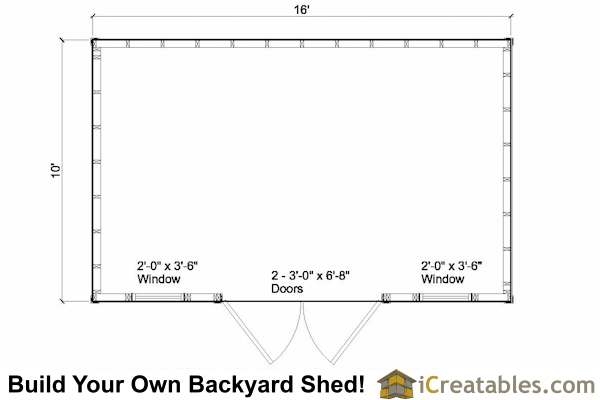 10x16 colonial shed side door floor plans