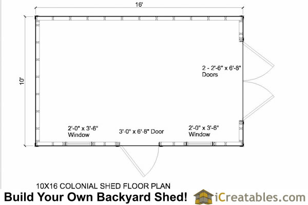 10x16 colonial shed floor plans