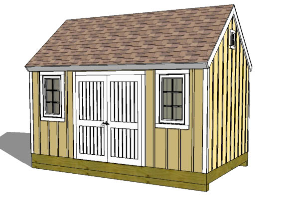 10x16 colonial shed plan with large side door