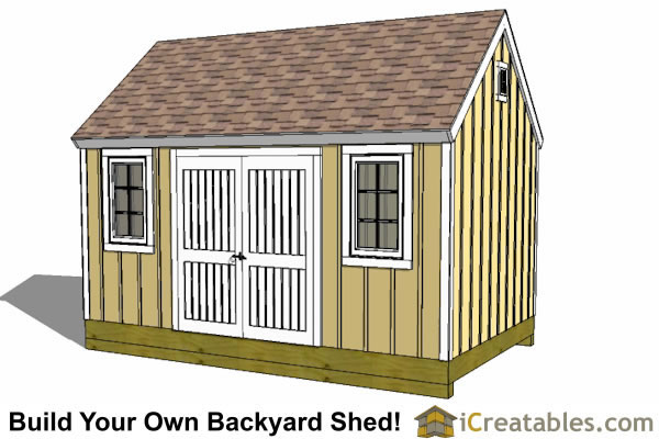 10x16 colonial shed with large front door design